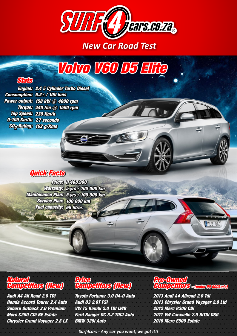 Volvo V60 D5 Elite (2013): Infographic – Surf4cars